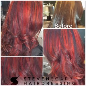 red hair colours at steven scarr hairdressing coxhoe