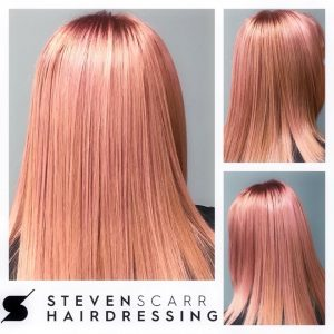 pink hair colour steven scarr hairdressing salon coxhoe