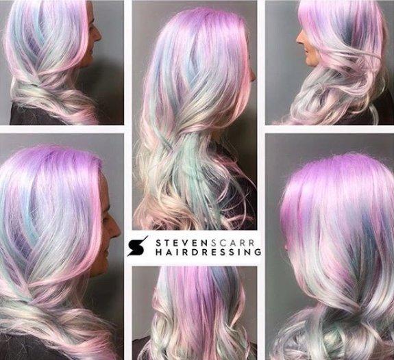 pastel hair colour at steven scarr hair salon in durham