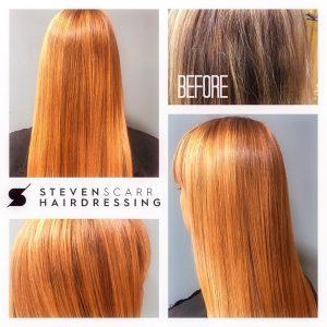hair colour correction services at steven scarr hair salon, durham
