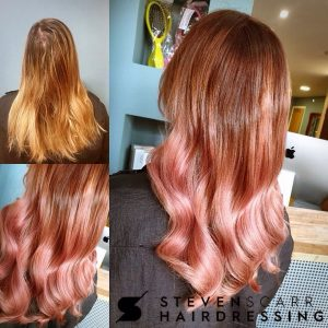 rose gold balayage at steven scarr hair salon in coxhoe durham